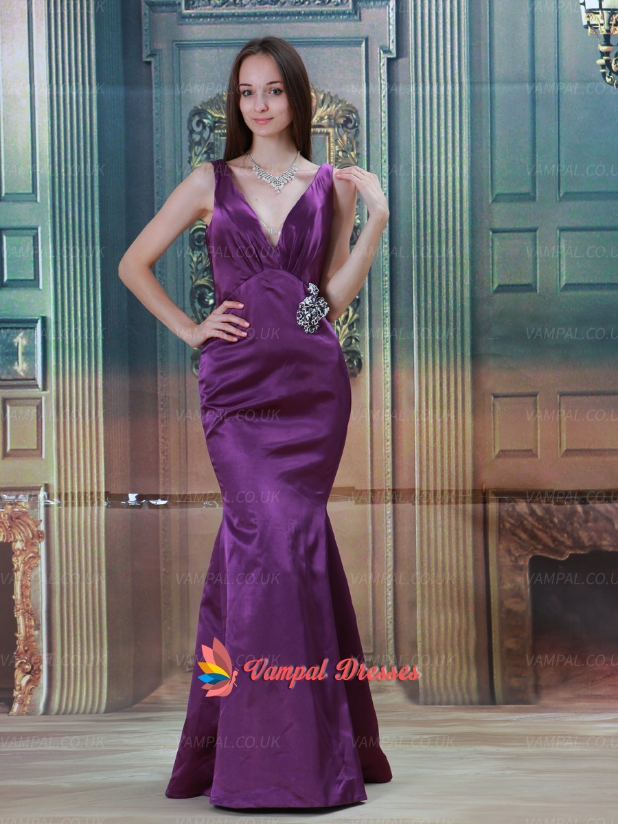 132.00$  Buy now - http://viedo.justgood.pw/vig/item.php?t=0yq5nz19996 - Elegant Purple Deep V-neck Mermaid Satin Prom Dresses 2015 With Beading 132.00$
