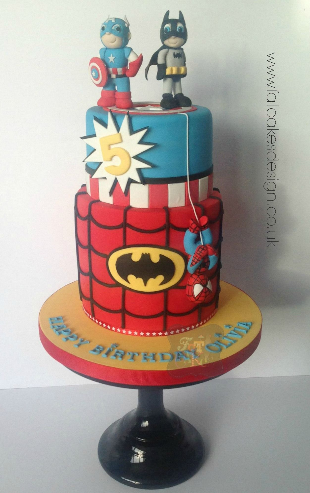 Captain America, Batman And Spiderman Cake For A Birthday Or
