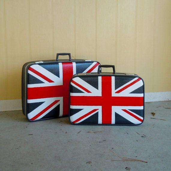 Union jack suitcase set . vintage luggage painted with british uk ...