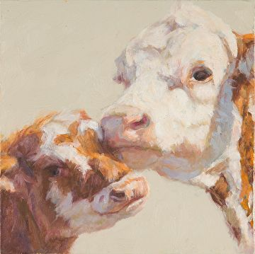 "Peaches and her Calf by Nancy Bass Oil ~ 6"" x 6"""