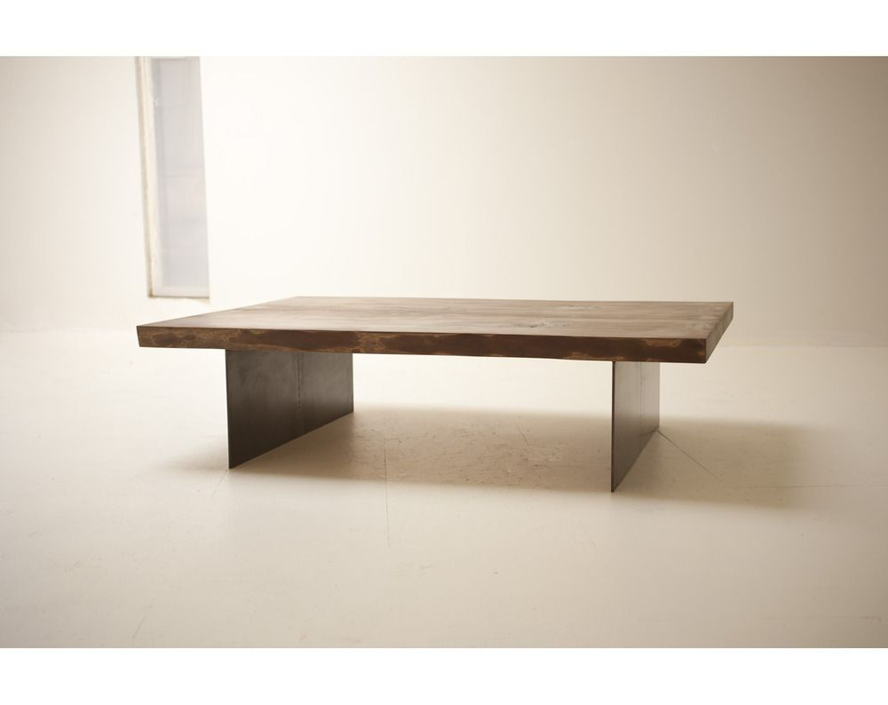 Slab Coffee Table - Naturally Fallen Tree , set atop a recycled steel set of legs.