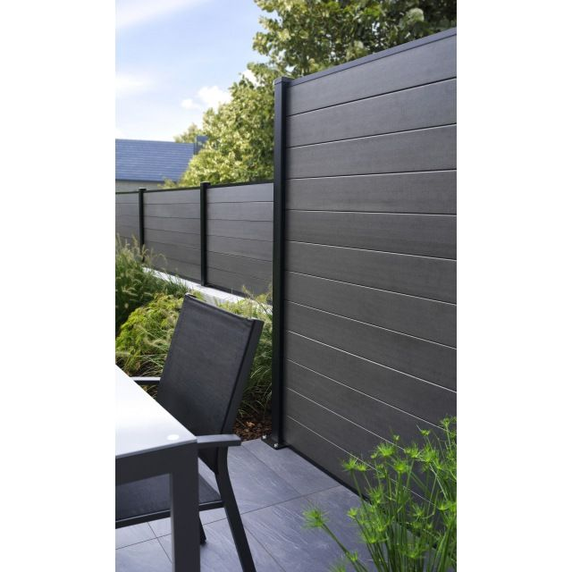 Demi panneau composite anthracite idaho 2 poteaux castorama jardin pinterest barri re for Cloture maison pvc