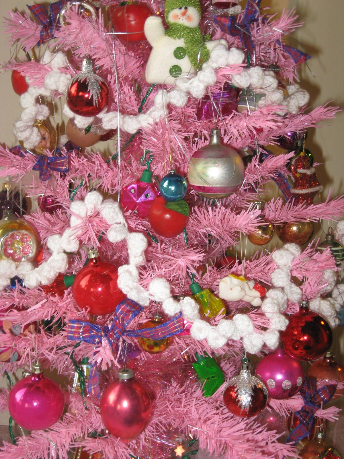 Tabletop tree with my collection of vintage Christmas decs and ...