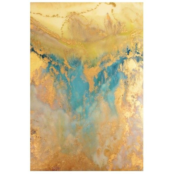 Blue & Gold Abstract Canvas Art Print ($300) ❤ liked on Polyvore ...