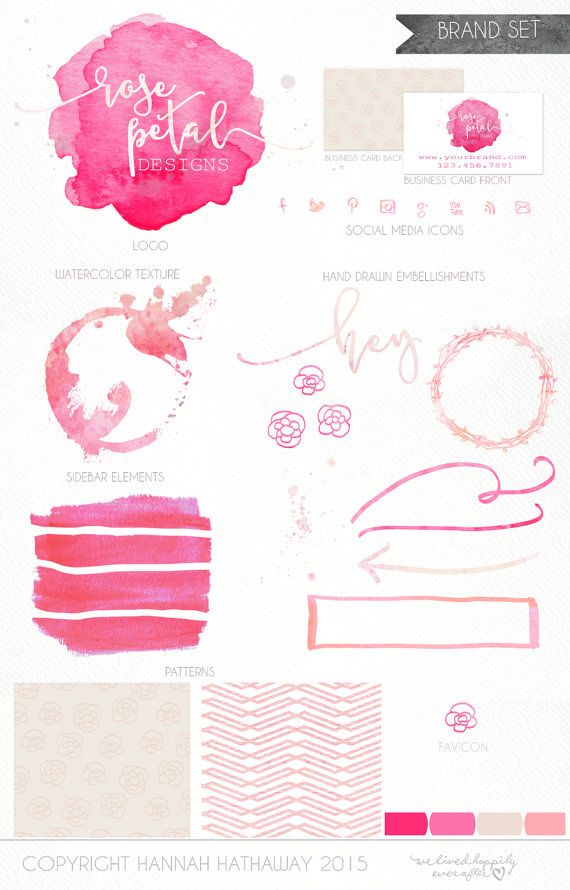 Business Identity Brand Set Premade Neon Hot Pink Watercolor Logo