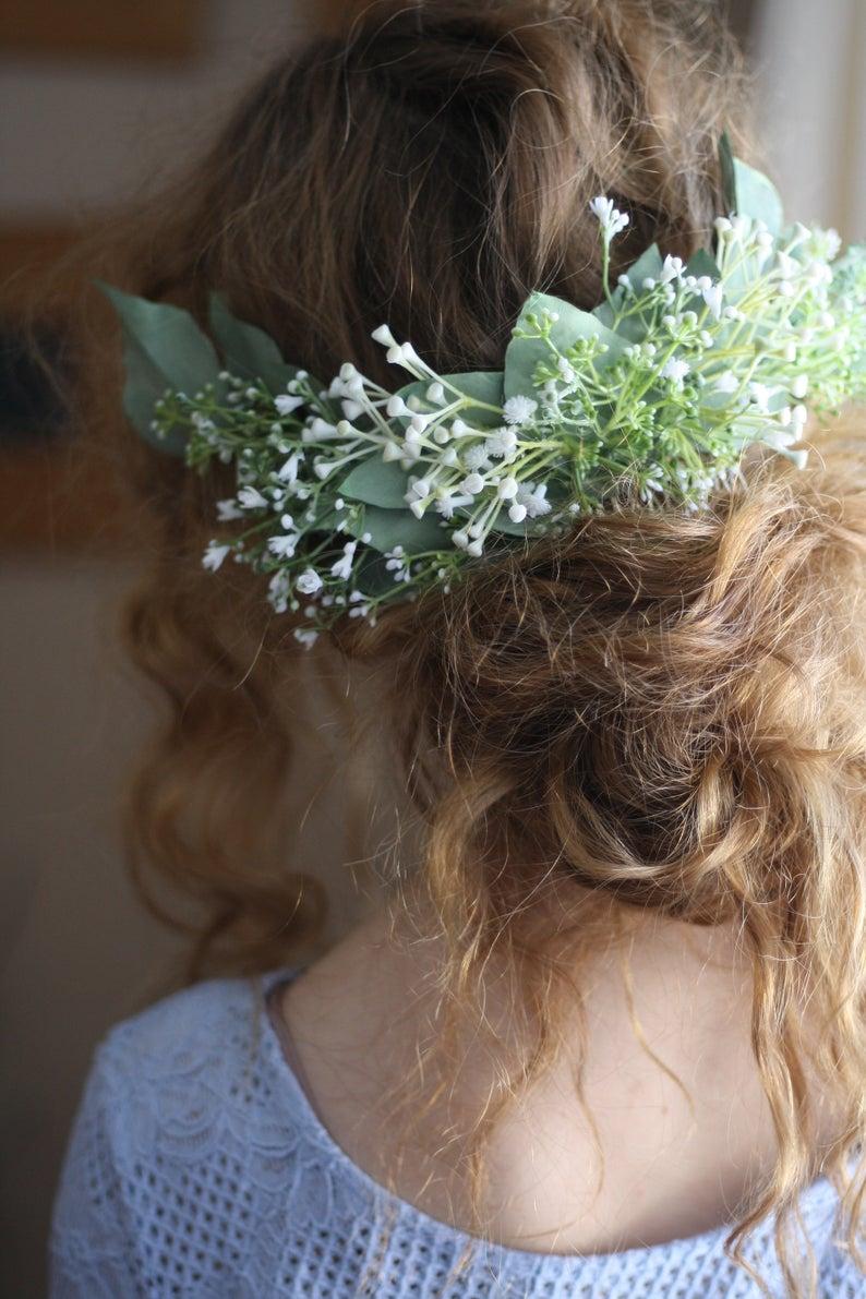 Eucalyptus hair comb greenery half crown Bridal hair vine boho ...