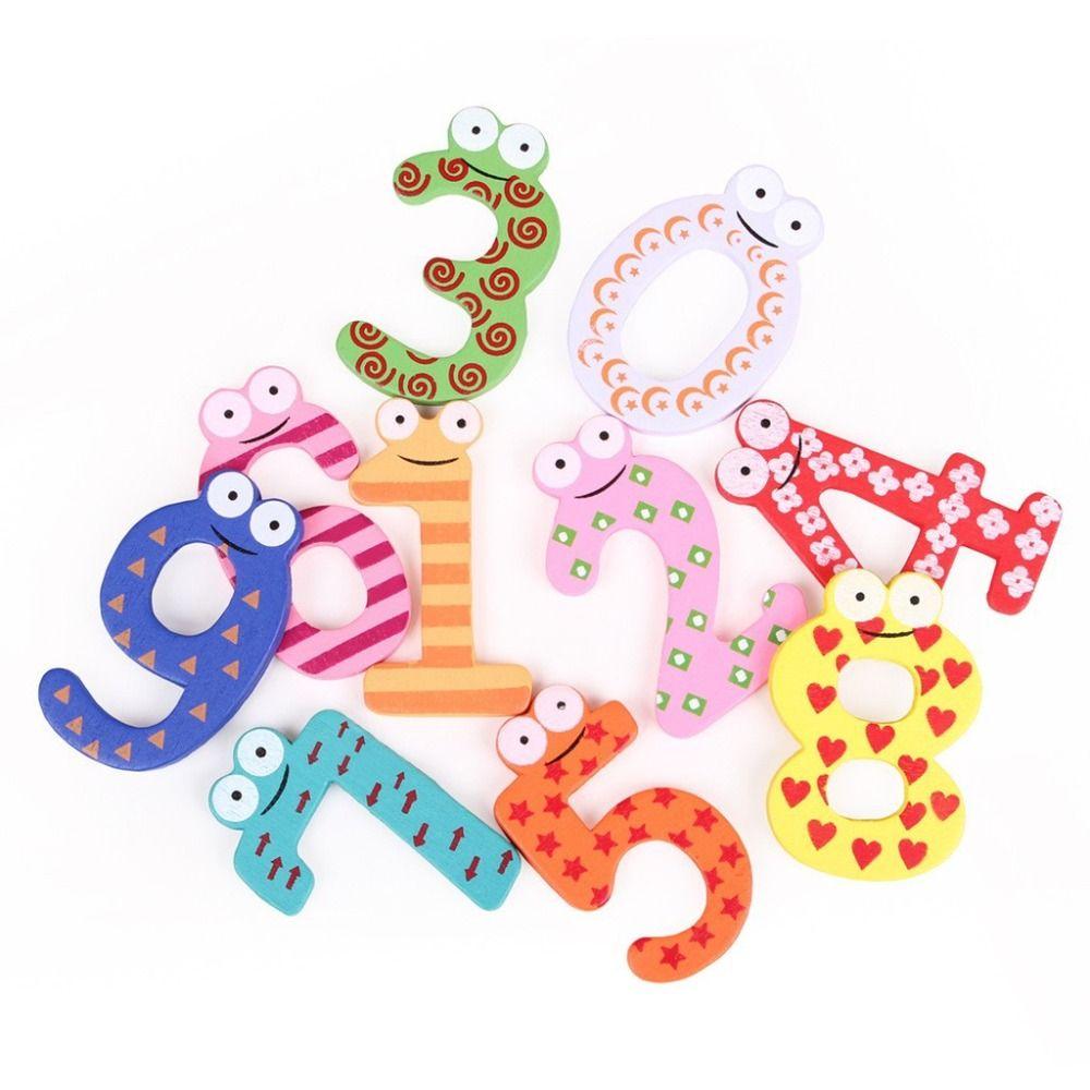 Hot marketing 10 pz frigo magneti magnetici di legno math giocattolo apprendimento precoce montessori giocattoli educativi di legno matematica giocattoli w210