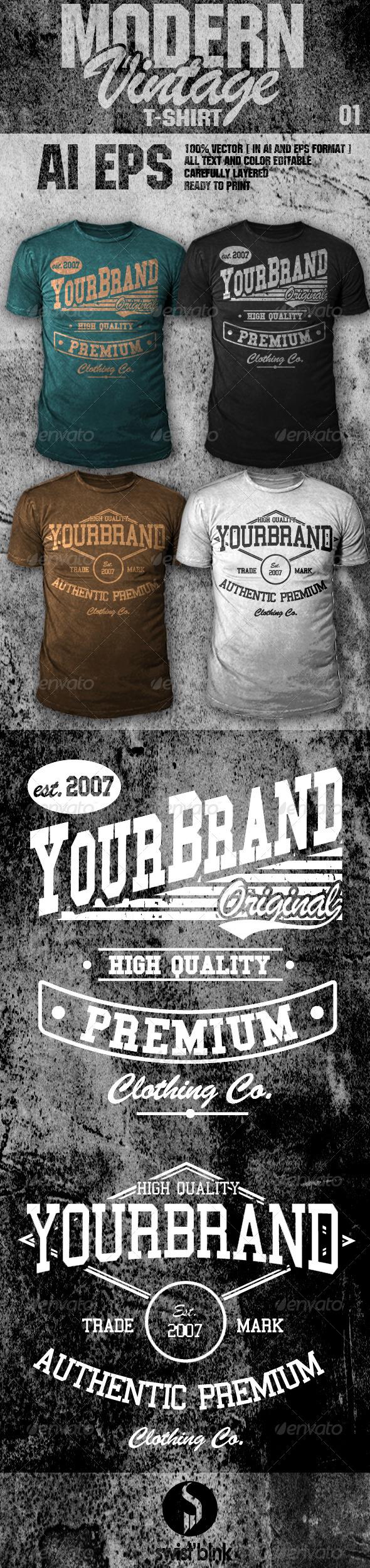 Shirt design fonts - Modern Vintage T Shirt 01