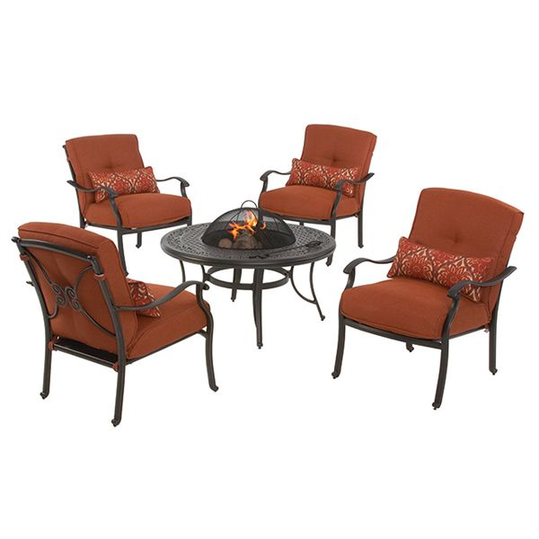 Martha Stewart Living™ Cold Spring 5 Piece Patio Fire Pit Set With Red  Cushions