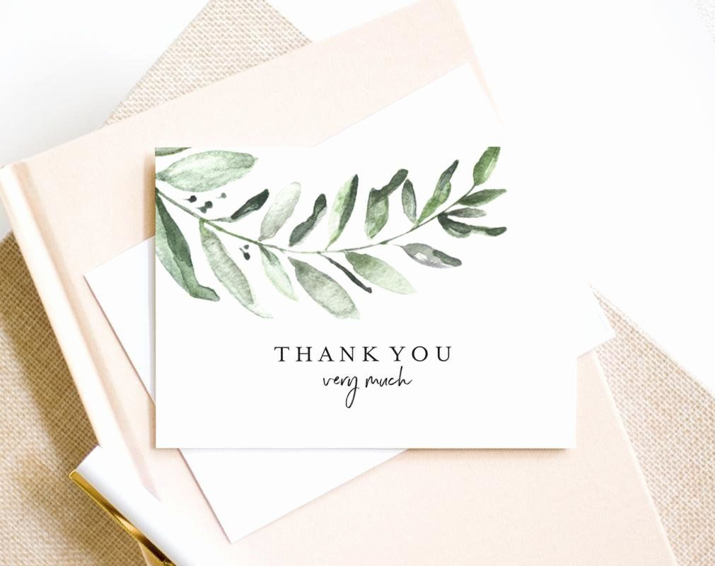 Thank You Card Template Wedding Inspirational Greenery Thank You Card Wedding Thank You Template Fo Thanks Card Thank You Card Template Wedding Thank You Cards