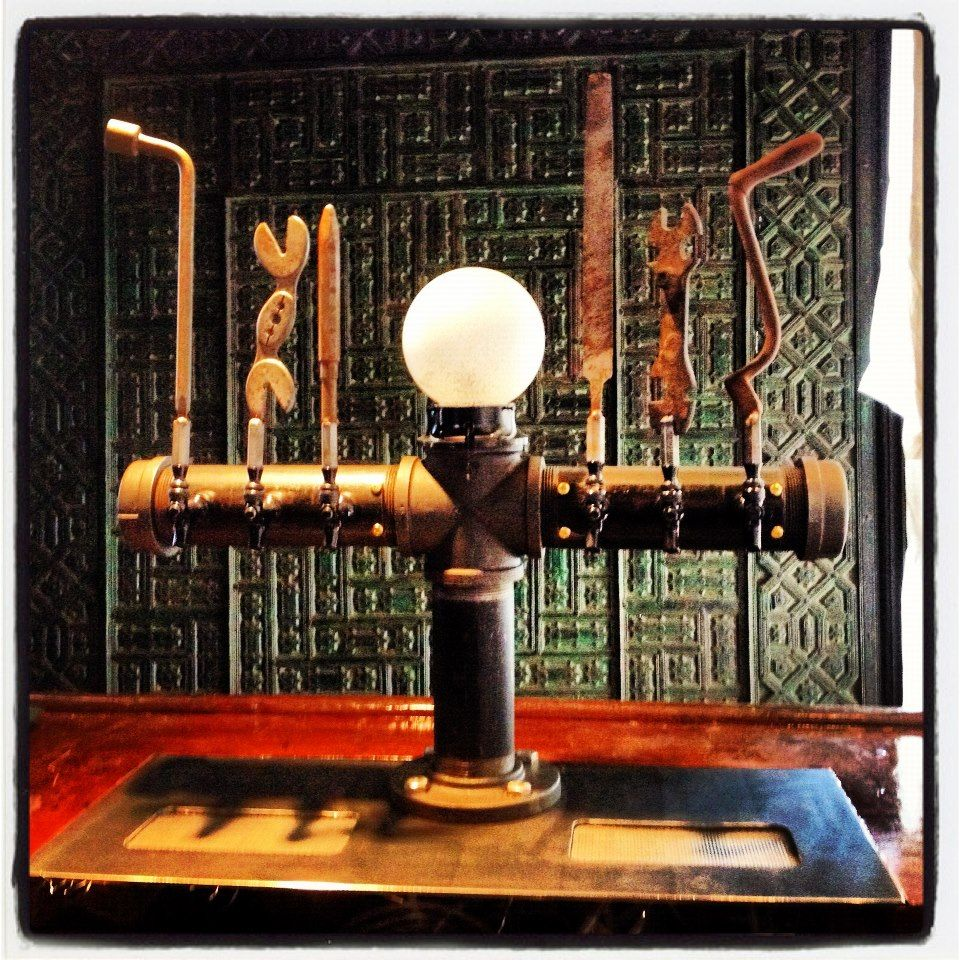 6 Tap Beer Tower Old Hand Tools Mounted For Tap Handles