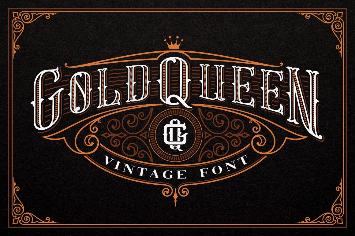Gold Queen Vintage Font 258494 Logo Font Bundles Vintage Fonts Logo Fonts Studio Logo