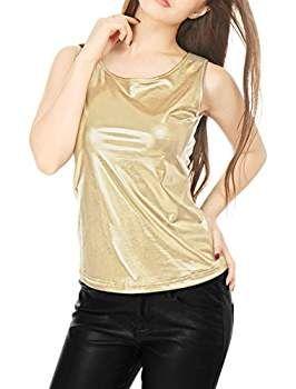 Sin Estilo Cuello Mangas Allegra Metálico Neck Mujer Camiseta U K n0PkX8wNO
