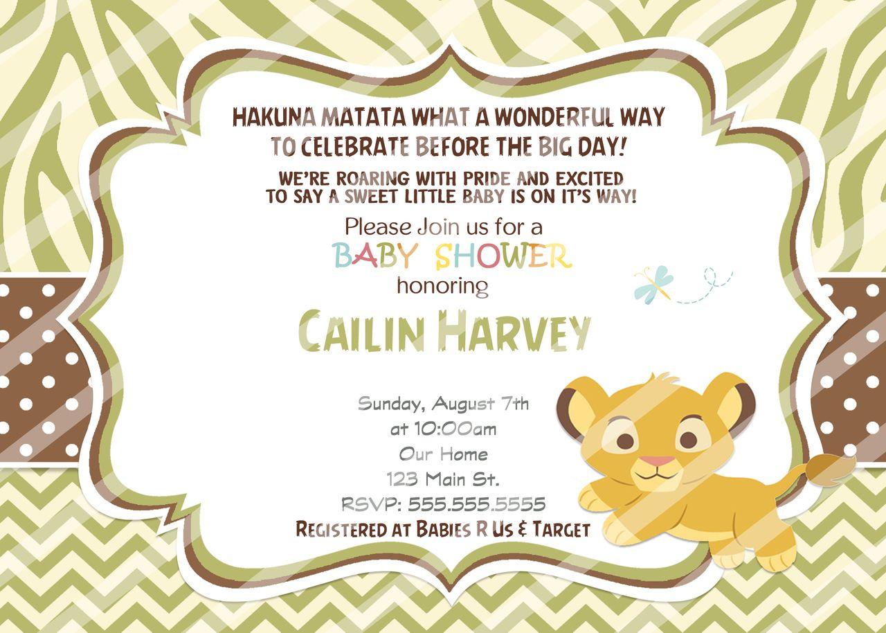 Baby Simba Shower Invitations | Baby simba and Shower invitations