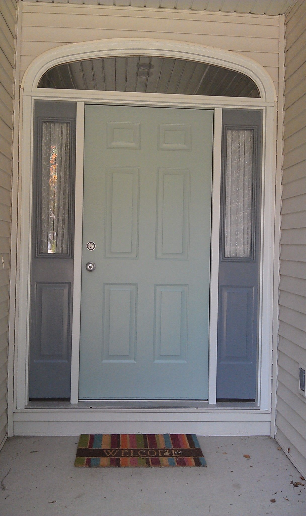 Our New Front Door Colors Benjamin Moore Wythe Blue And Shaker Gray Our New Home Pinterest