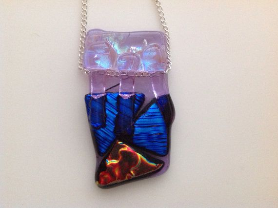 Dichroic Glass Pendant by Creationsbykandpj on Etsy, £8.00
