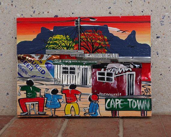 Wood Block Art Mixed Media Recycled Art South African Art