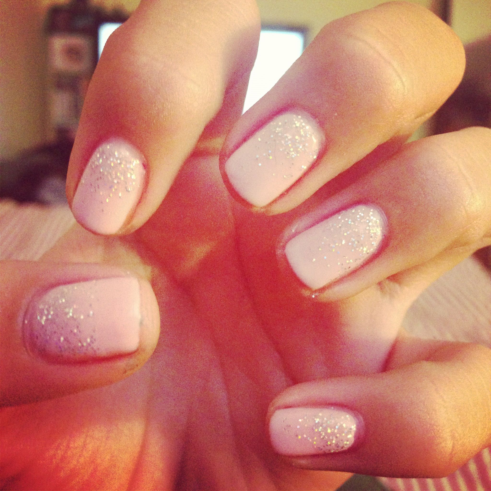 Short Square Natural Nails... Pastel Pink With Silver Glitter Fade ...