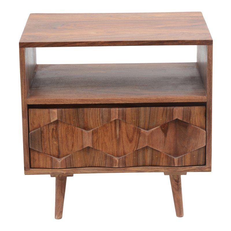 Deepwell 1 Drawer Nightstand Wood nightstand, Moe's home