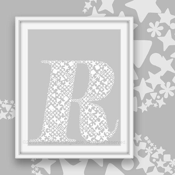 Monogram Letter R Printable Monochrome By PrintableChangeable