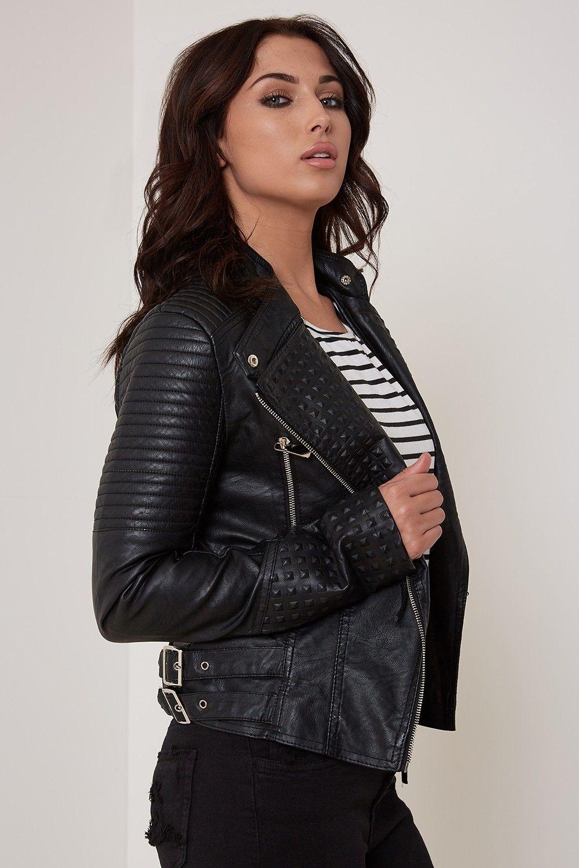 Tell Me About It Stud Faux Leather Biker Jacket Black