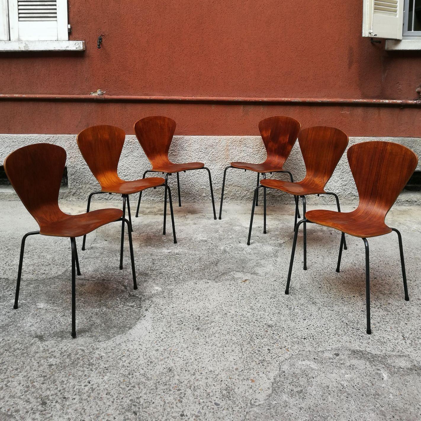 Sedie In Legno Curvato.Set Di 6 Sedie In Legno Curvato Con Zampe In Metallo Verniciato