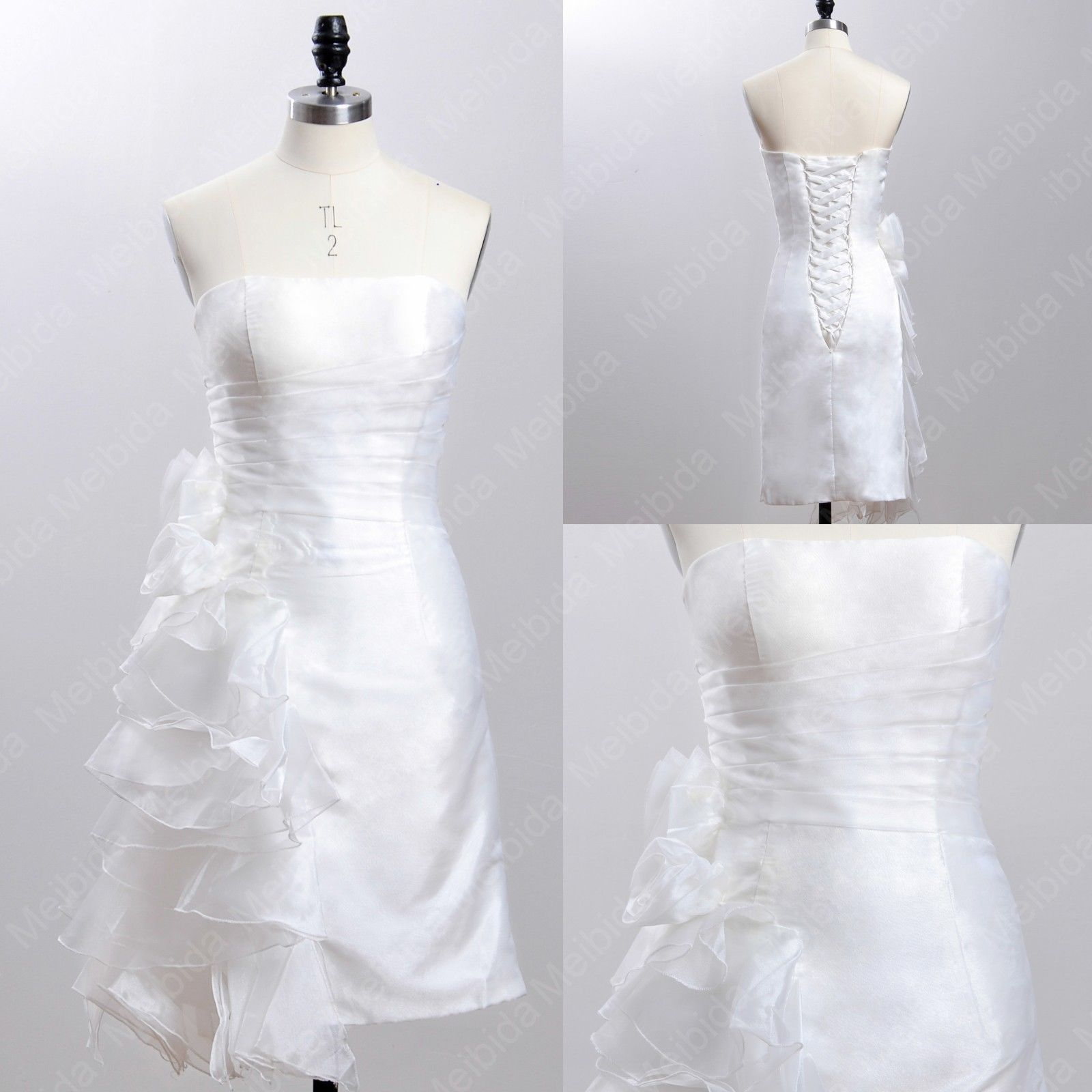 Charming Ruched Binding Tea-Length Strapless Wedding