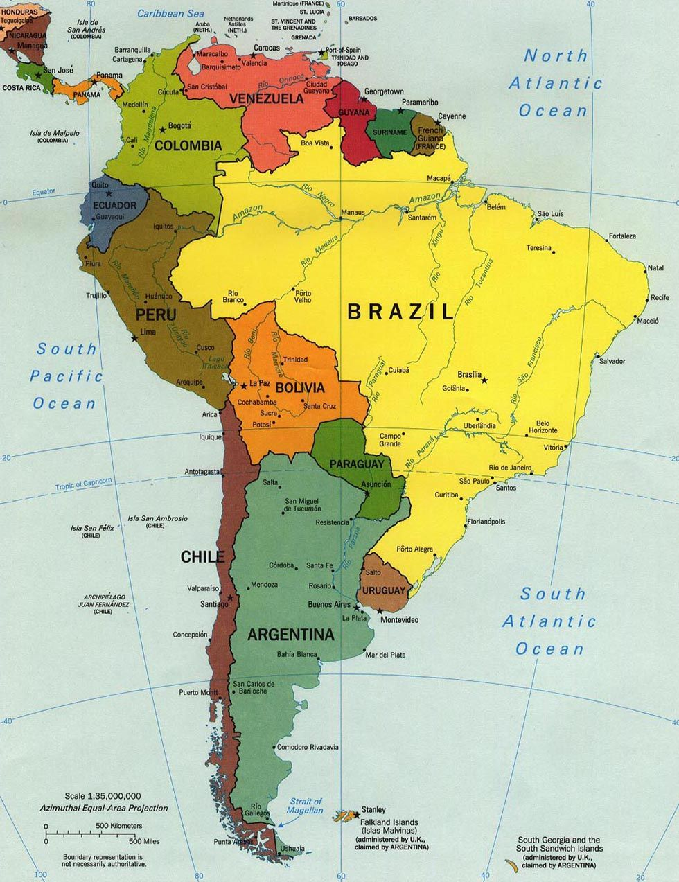 South Anerican Map South America in 2019 | Latin America. | South america map, South