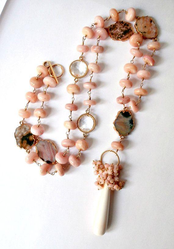 Pink peruvian opal necklace
