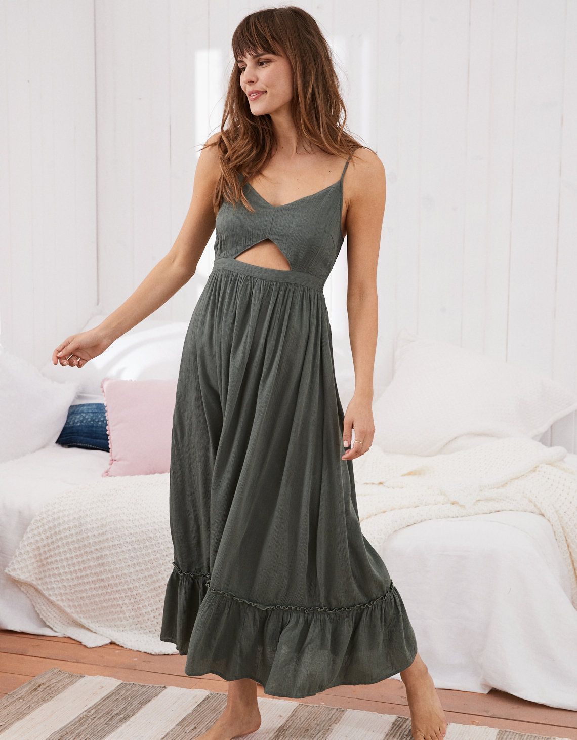 9d8b882e53 Aerie Cutout Maxi Dress, Royal Palm | Aerie for American Eagle ...