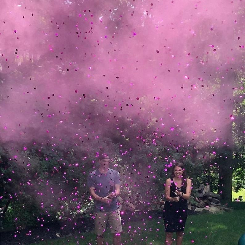24 Powder Confetti Cannons Gender Reveal Both Smoke Powder And Confetti In One Cannon Confetti Cannon Gender Reveal Gender Reveal Smoke Confetti Gender Reveal