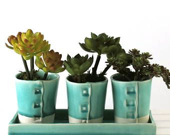 Exceptional Turquoise Planter, Succulent Planter, Windowsill Planter, Succulent Flower  Pot, Pottery Flower Pots