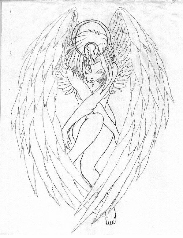 Female Guardian Angel Drawing : female, guardian, angel, drawing, Guardian, Angel, Drawing,, Sketch,, Drawings