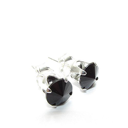 Pewterhooter Men S 925 Sterling Silver Stud Earrings Expertly Made With Jet Crystal From Swarovski The Com
