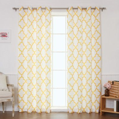 """Best Home Fashion, Inc. Oxford Basketweave Curtain Panels Color: Yellow, Size: 52"""" W x 96"""" L"""