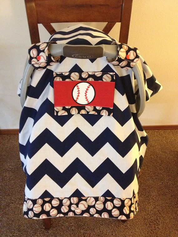 Baseball Car Seat Canopy With Peekaboo Window By SaraSewtique 4000