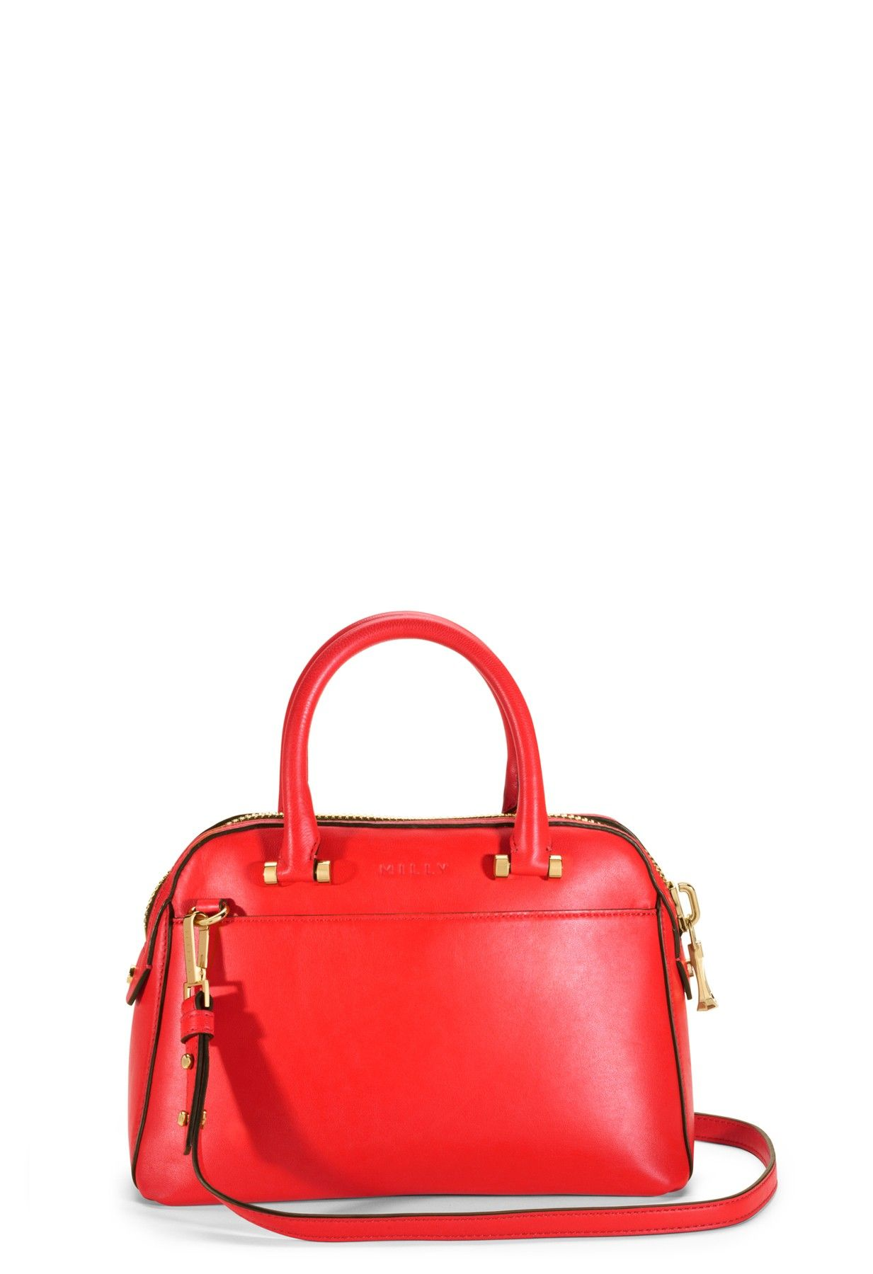 Blake Small Satchel Vermilion Red Milly Ny