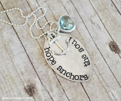 Hope Anchors The Soul -Hand Stamped Vintage Spoon Necklace from jessicaNdesigns