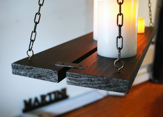 Wood & Chain Hanging Candle Holder Chandelier By