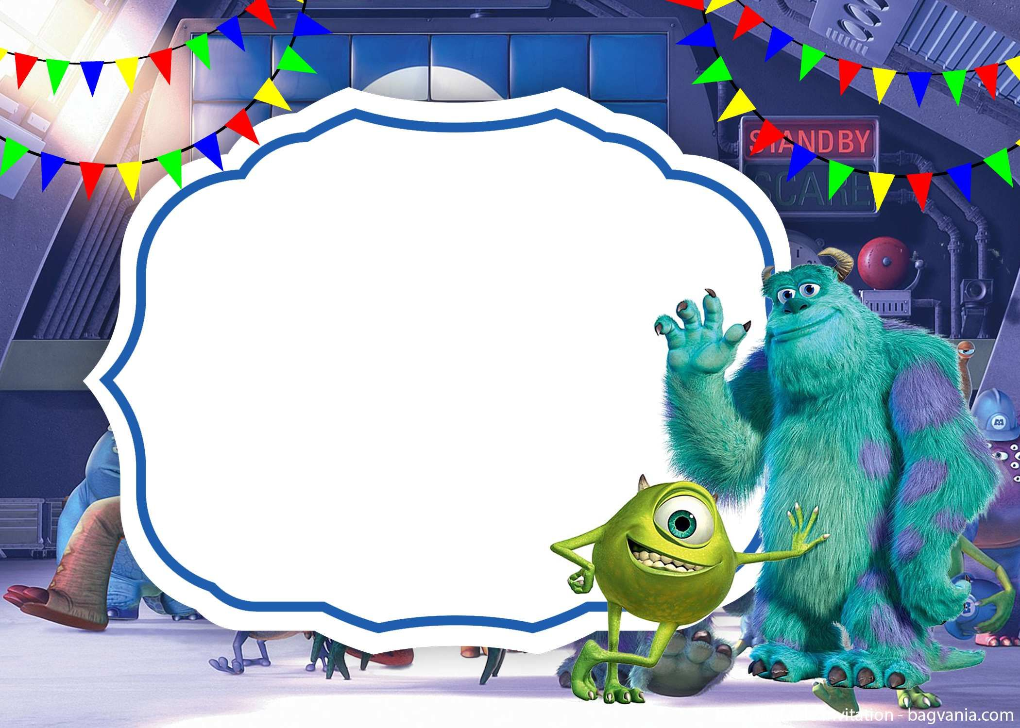 free printable scary monster inc invitation template