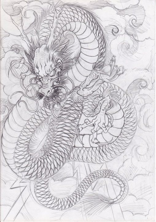 Japanese Tattoo Line Drawing : Japanese dragon tattoo flash google search