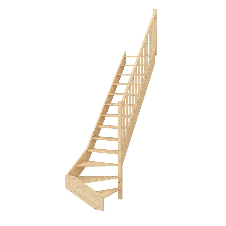 Escalier 1 4 Tournant Bas Droit Bois Sapin Deva 2 Scm 13 Marches