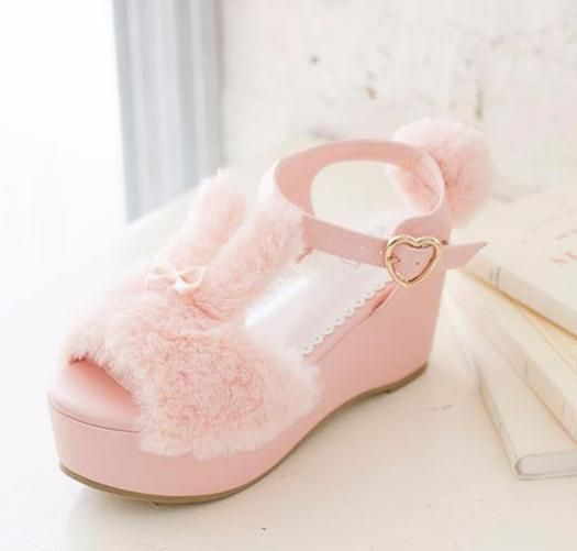 8a566ebe8e Fuzzy Bunny Wedge Sandals in 2019 | Absolute Favorite | Kawaii shoes ...