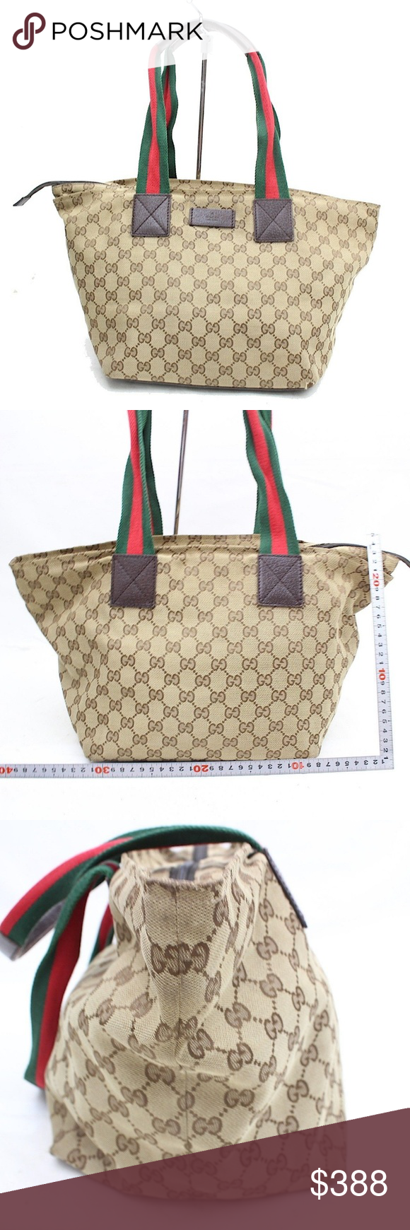 131230 auth gucci gg browns canvas bag 256g121 size: w17'' x h9'' x