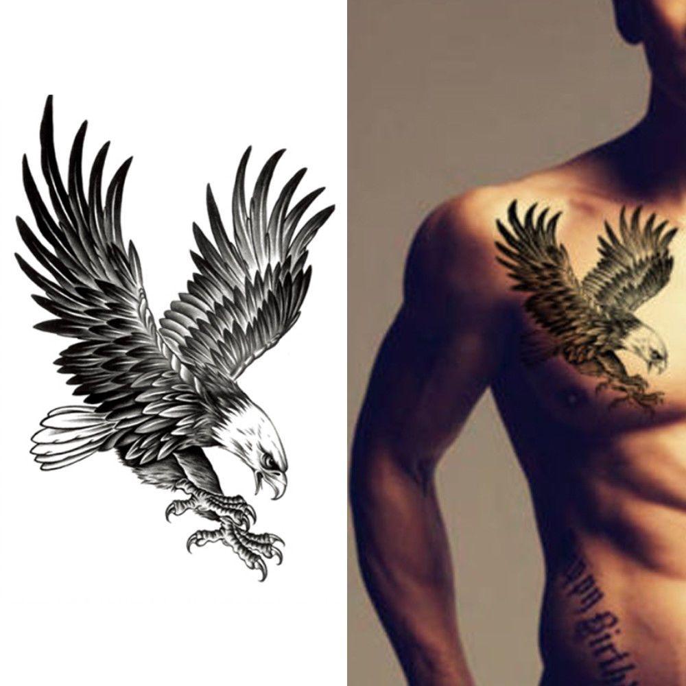 Eagle Waterproof Temporary Body Art Arm Shoulder Chest Tattoo Sticker Women Men Eagle Art Ideas Of Eagle Art Chest Tattoo Chest Tattoo Men Men Henna Tattoo