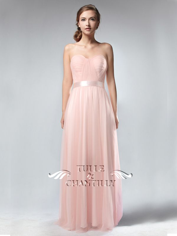Long Sweetheart Pink Tulle Bridesmaid Dress TBQP302 | Pinterest | Me ...