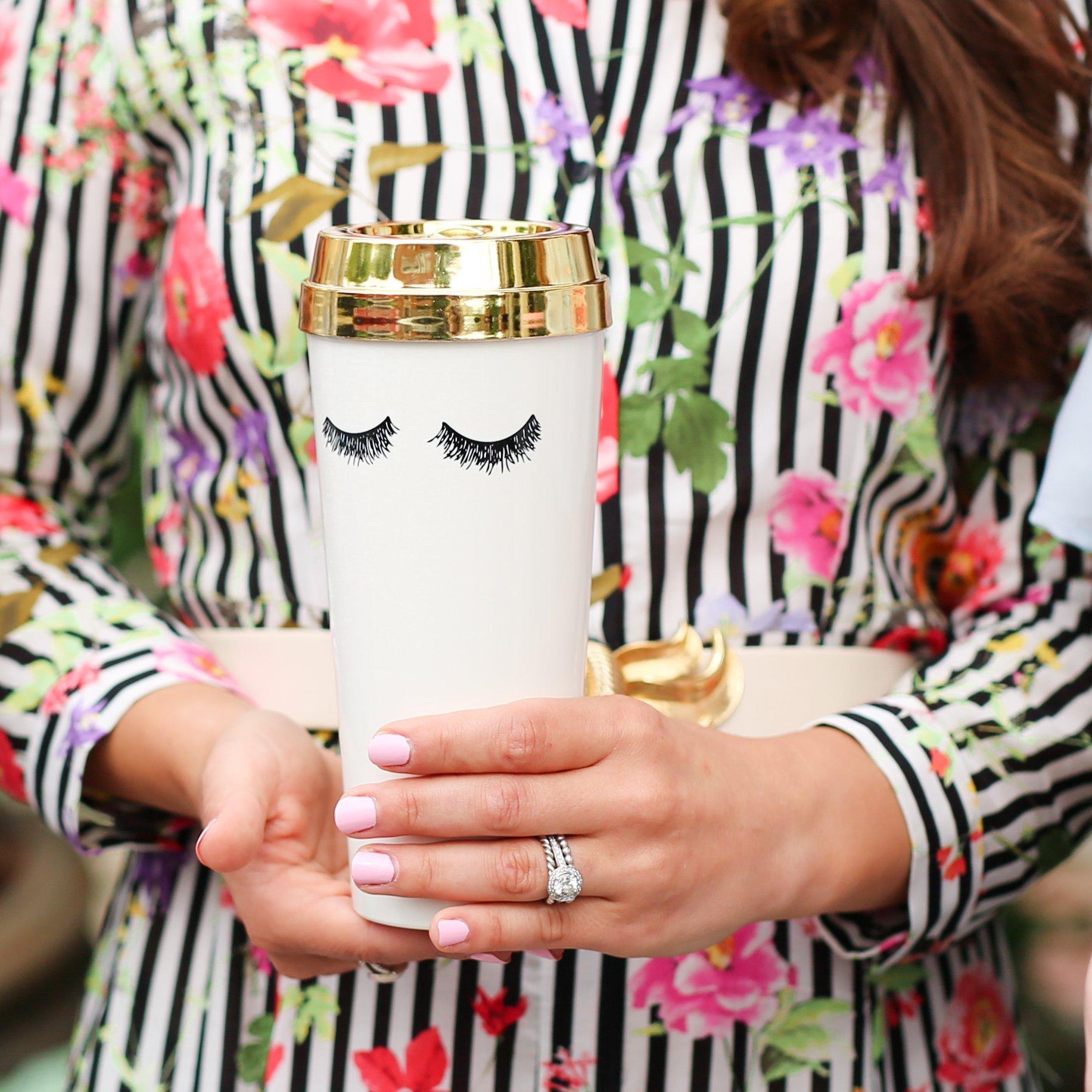 Eyelashes Gold Travel Mug Mugs, Gold lid, Sweet water decor