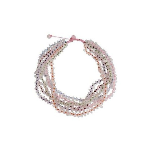 NOVICA Rose Quartz Necklace Handcrafted Jewelry (44 CAD) ❤ liked on Polyvore featuring jewelry, necklaces, beaded, rose quartz, rose quartz necklace, multi color necklace, pink bead necklace, knotted bead necklace and multi color beaded necklace