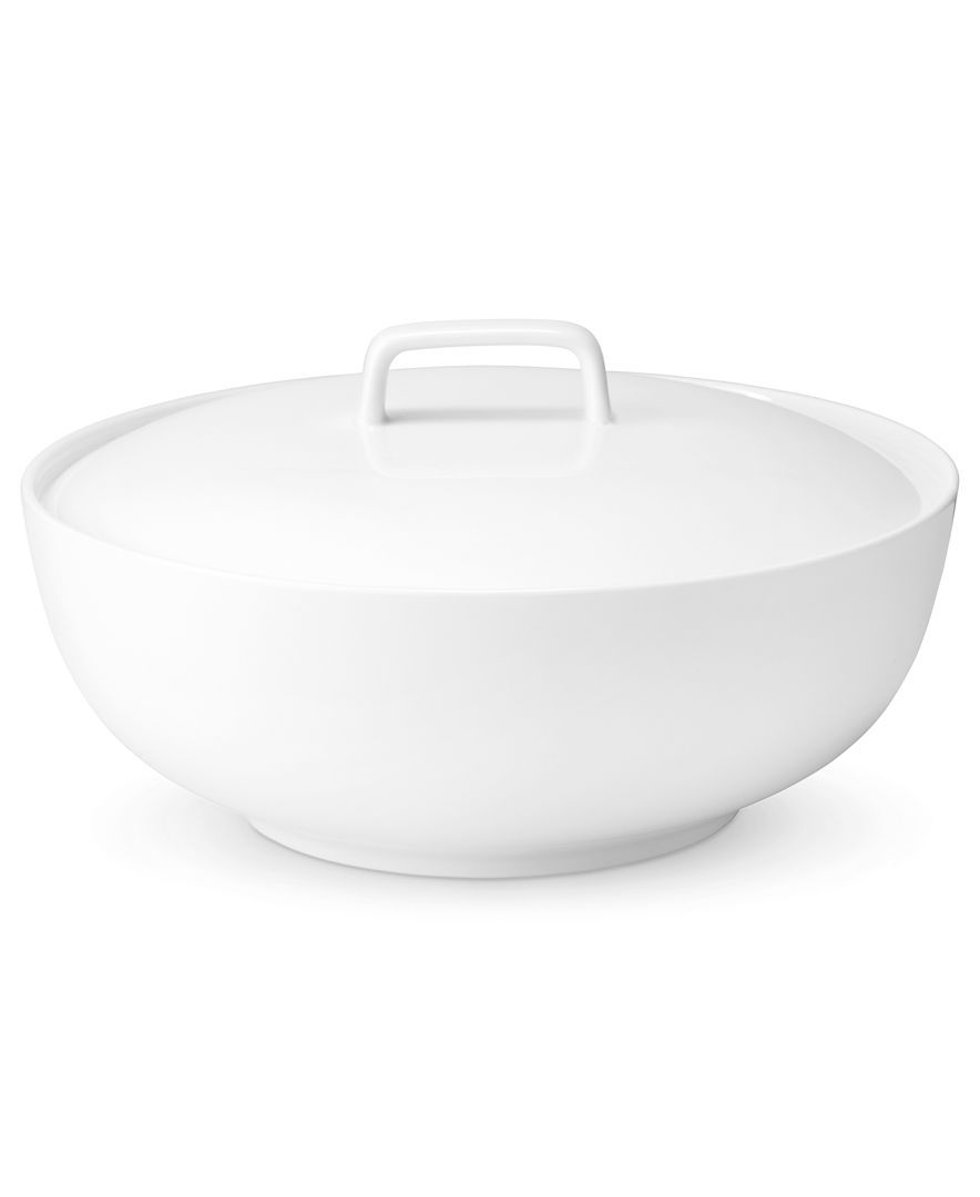 The Cellar Whiteware Covered Vegetable Bowl, Created for Macy\'s ...