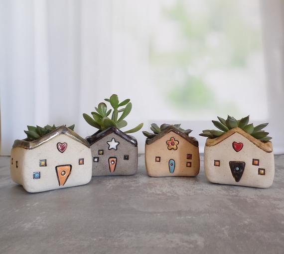 Random Ceramic Planter Shaped As A House Or A House Decor Etsy Clay Planters Ceramics Clay